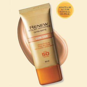 Protetor Solar Facial Anti-Idade FPS50 Ultra Matte com Cor 50 ml - Renew