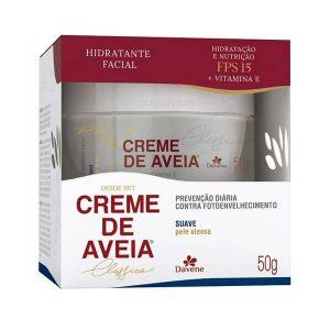 Creme Hidratante Facial Suave de Aveia Para Pele Oleosa 50 gr - Davene