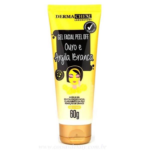 Gel Facial Peel Off Ouro e Argila Branca 60g - Dermachem
